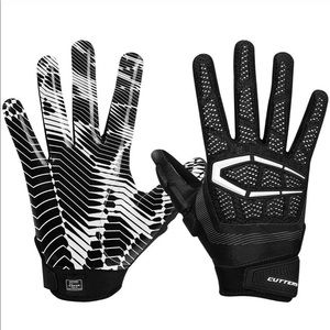 Cutters Adult Gamer Padded Football White Gloves